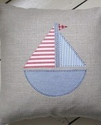 Handmade Linen Applique Boat Cushion